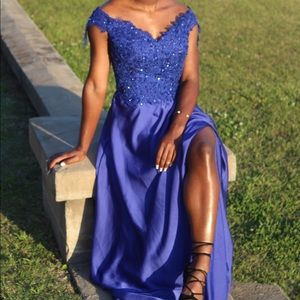 Lace Trim Satin Prom Dress with Slit